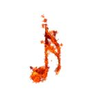 Burning musical note. Illustration with a burning musical note on white background Royalty Free Stock Photos