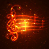 Burning musical symbols Royalty Free Stock Images