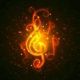 Burning musical symbols Royalty Free Stock Photo