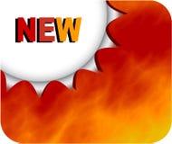Burning new badge Stock Photo