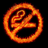 Burning no smoking sign. Restriction plate illustration Royalty Free Stock Images