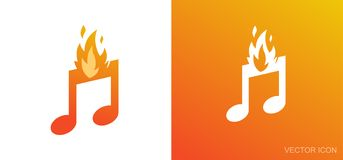 Burning Notes - Nice Illustration for Logo. Examples for Logo with Music Notes. Set in Flat Style of Vector Illustrations on white and orange backgrounds in EPS Stock Photos
