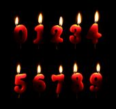 Burning number candles Stock Image