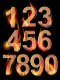 Burning numbers. From 0 to 9 over dark, illustration Stock Photos
