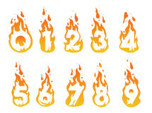 Burning numbers illustration. Illustration of burning numbers in a fire from number 1 to number 10 Stock Images
