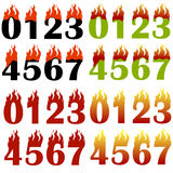 Burning Numbers Isolated. On White Background. One Two Three Figures in Fire Stock Images