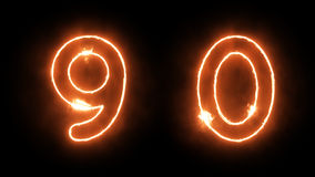 Burning Numbers. Outline Fire Numbers on Black Background Stock Images