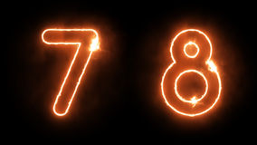 Burning Numbers. Outline Fire Numbers on Black Background Royalty Free Stock Images