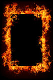 Burning objects and objects in fire. Fire frame with dark center for text or object to be inserted Stock Images