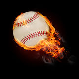 Burning objects and objects on fire background. Flying baseball ball on fire - flying up Royalty Free Stock Image