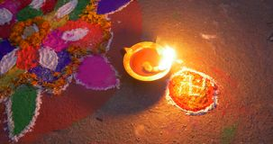 Burning oil candle on hindu celebrarion stock video footage