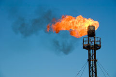 Burning oil flare royalty free stock image
