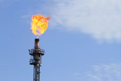 Burning oil flare Stock Image