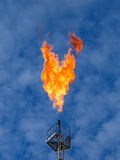 Burning oil gas flare Stock Image