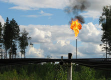 Burning oil gas flare Royalty Free Stock Photography