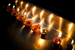 Burning oil lamps. India Stock Photography