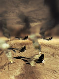 Burning oil wells. F15 fighters patrol flying over oil wells on fire in the desert Royalty Free Stock Images