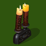 Burning old candles. Illustration of burning old ornamental candles with candlestick Royalty Free Stock Images