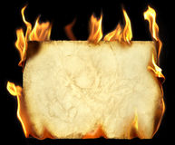 Burning old paper. Royalty Free Stock Image
