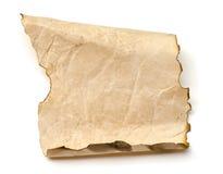 Burning old paper sheet isolated on white Stock Photo