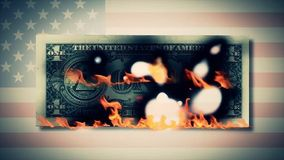 Burning one dollar bills animation. fire dollar. One hundred dollar bill burning. On a photo dollar bill. close-up Royalty Free Stock Images
