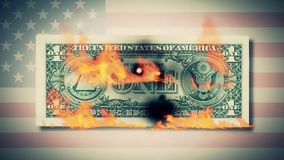 Burning one dollar bills animation. fire dollar. One hundred dollar bill burning. On a photo dollar bill. close-up. HD stock video footage