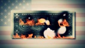 Burning one dollar bills animation. fire dollar. One hundred dollar bill burning. On a photo dollar bill. close-up Royalty Free Stock Image