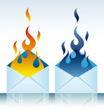 Burning open envelope Royalty Free Stock Photography