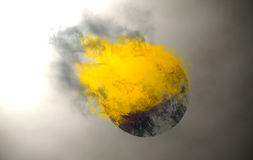 The burning Orb. Burning ball falls on the grey background.Abstraction 3D Stock Photography