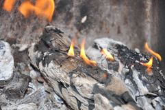 Burning out logs Royalty Free Stock Photo