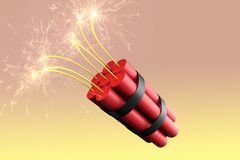 A burning pack of dynamite. 3D rendering of a burning pack of dynamite stock illustration