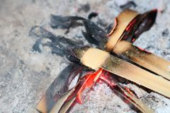 Burning palm crosses to ashes for lent royalty free stock photos