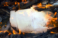 Burning paper Stock Image