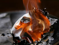 Burning paper ash. Ball of buring paper among the ashes with flames Royalty Free Stock Photos