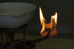 Burning paper. Closeup of burning paper with a black background stock photos