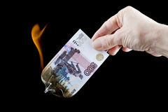 Burning paper currency close up Stock Photo