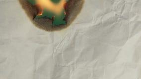 Burning paper. Greenscreen. stock footage