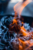 Burning paper for Hungry Ghost Chinese Festival Royalty Free Stock Photo