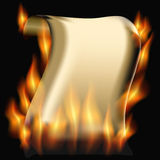 Burning paper scroll Royalty Free Stock Photos