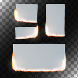 Burning paper set. Vector illustration. Burning paper set. Sheet of paper in flame on transparent background. Rectangular and square shapes. Vector illustration Royalty Free Stock Images