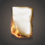 Burning paper. In vector on gray background Stock Images