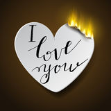 Burning paperc heart Stock Images