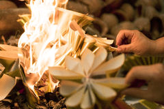 Burning papers for respect ancestors. In chinese new year festival royalty free stock photo
