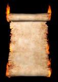 burning parchmentrulle royaltyfri illustrationer