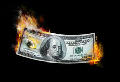 burning pengar Arkivfoton