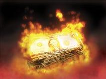 burning pengar Royaltyfria Bilder
