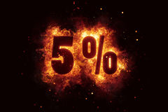 Burning 5 percent sign discount offer fire off Royalty Free Stock Photo