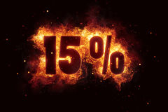 Burning 15 percent sign discount offer fire off Stock Image