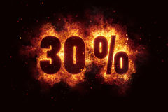 Burning 30 percent sign discount offer fire off Royalty Free Stock Image