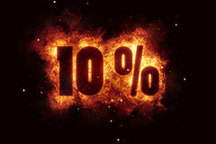 Burning 10 percent sign discount offer fire off Stock Photo